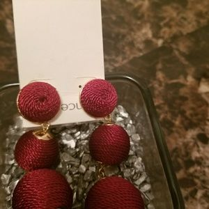Gorgeous Burgundy Red Drop Ball Earring